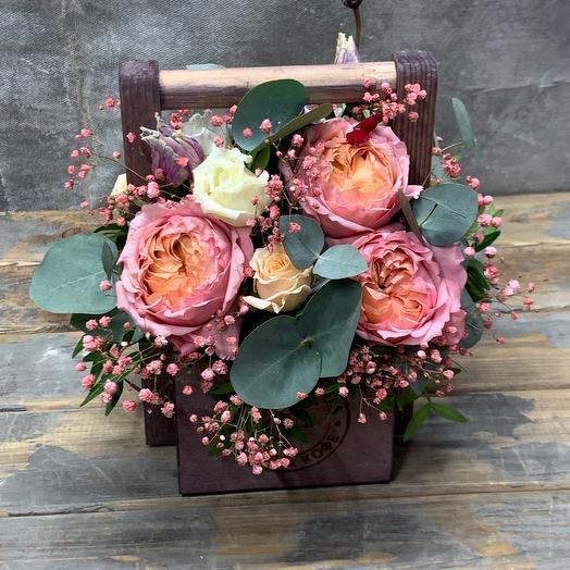 Нежная Джульетта Композиция из пионовидной Розы с лизиантусом и гипсофилой
