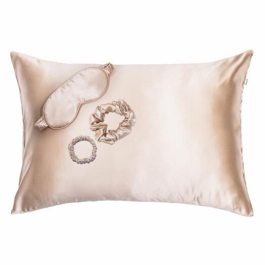 Комплект: шелковая бьюти наволочка 50×70, шелковая маска для сна, резинки для волос SILK SILK Карамель