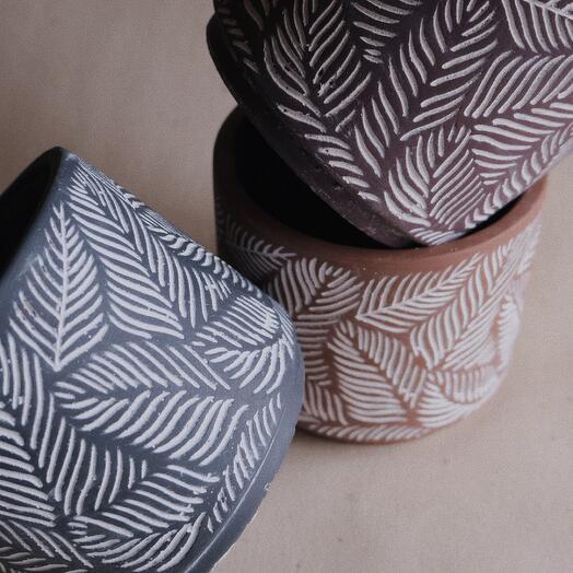 Керамическое кашпо. Цвет: серый