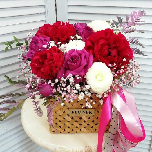 """Цветы в корзине """"Летняя ночь"""""""