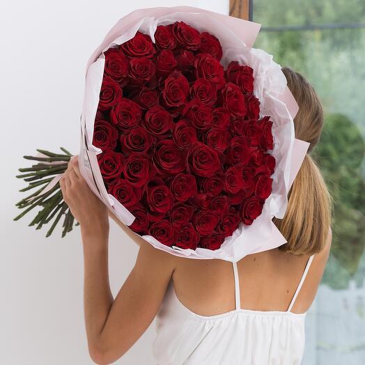 Букет из 51 красной розы Эквадор 60см