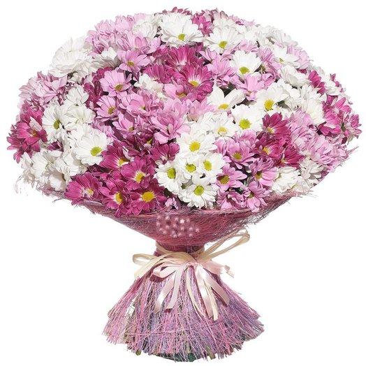 Букет из розовых хризантем Вишневый сад: букеты цветов на заказ Flowwow