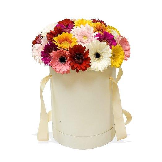 Цветы в шляпной коробке Любимые герберы
