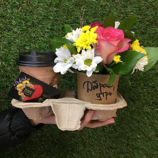Кофейно-цветочный комплимент: букеты цветов на заказ Flowwow