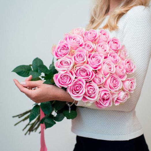 Букет из 25 розовых роз: букеты цветов на заказ Flowwow