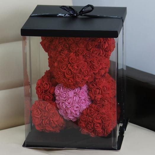 Мишка из роз «Бордо» с сердцем: букеты цветов на заказ Flowwow
