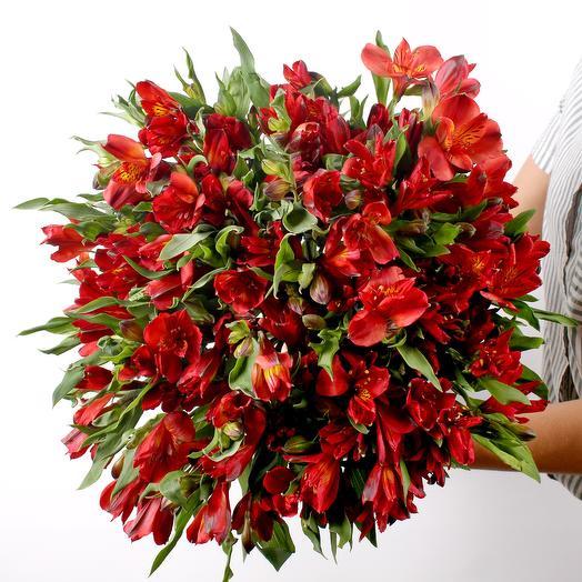 Букет из альстрамерий красных: букеты цветов на заказ Flowwow