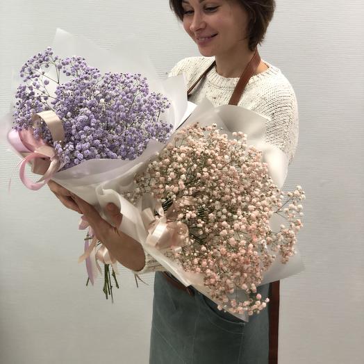 Букет из крашенной гипсофилы: букеты цветов на заказ Flowwow