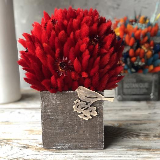 Интерьерная композиция в сочных оттенках с плюшевыми колосками: букеты цветов на заказ Flowwow