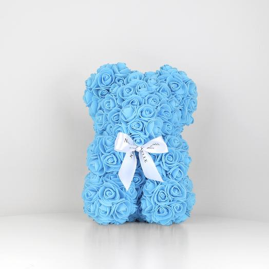 Мишка из роз 25см голубой: букеты цветов на заказ Flowwow