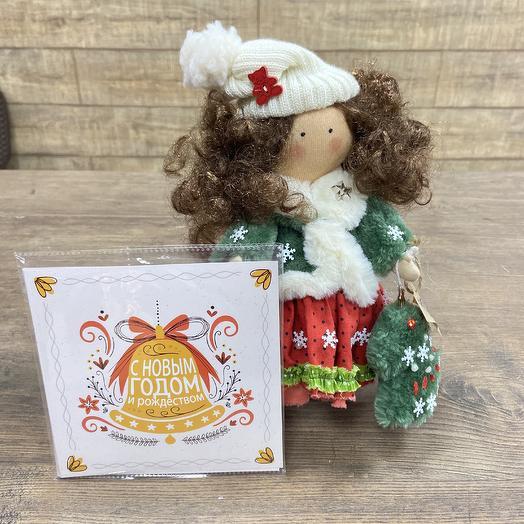 Кукла ручной работы с шоколадной открыткой: букеты цветов на заказ Flowwow