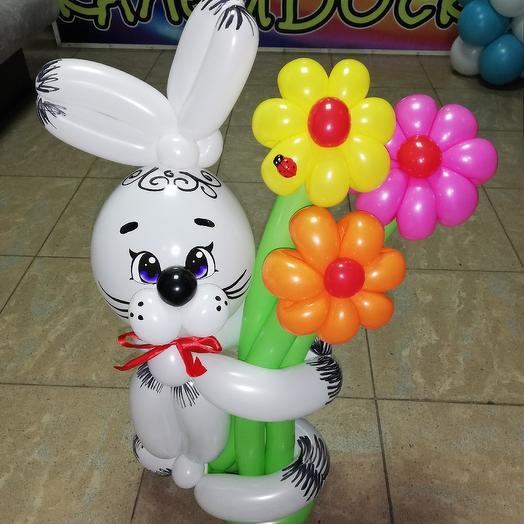 Зайка с цветами из воздушных шаров: букеты цветов на заказ Flowwow