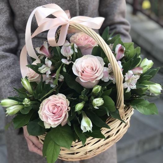 Корзина с розовыми розами Моя нежная