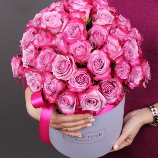 39 роз Дип перпл в шляпной коробке
