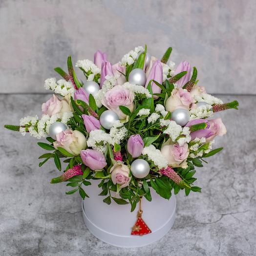 Коробка с цветами «Розовое наслаждение»
