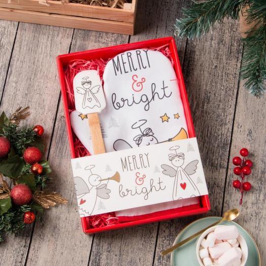 """Набор подарочный """"Merry bright"""" с варежкой-прихваткой"""