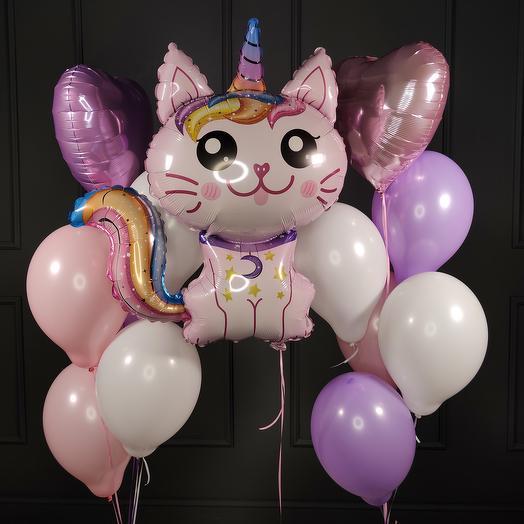 Композиция из  шаров с розовым Котом-Единорогом
