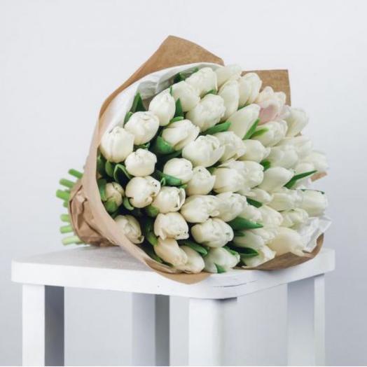 Белые Тюльпаны 45 штук