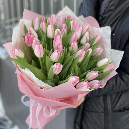 Букет Шарм из розовых тюльпанов