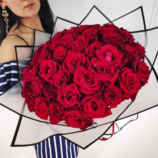 51 бархатная роза Premium(коробка конфет в подарок, условие в описании)