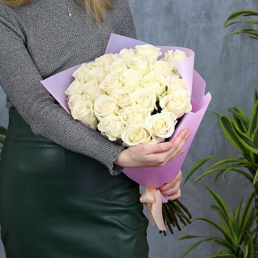 25 белых роз 70 см (Эквадор)
