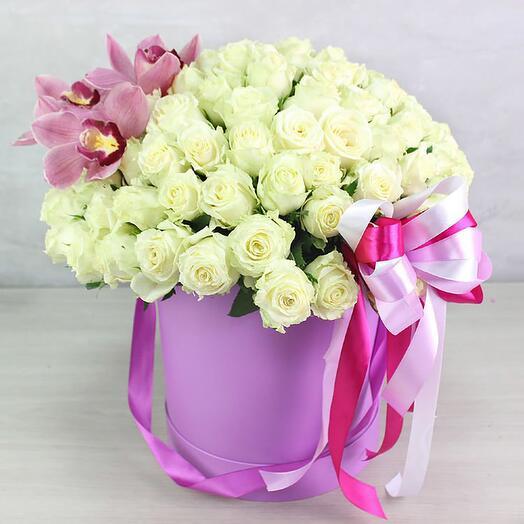 """101 роза в коробке """"Розовое трио"""""""