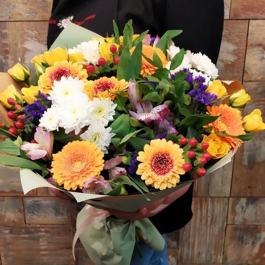Букет,, Яркий день,, гербера, хризантема кустовая, роза кустовая