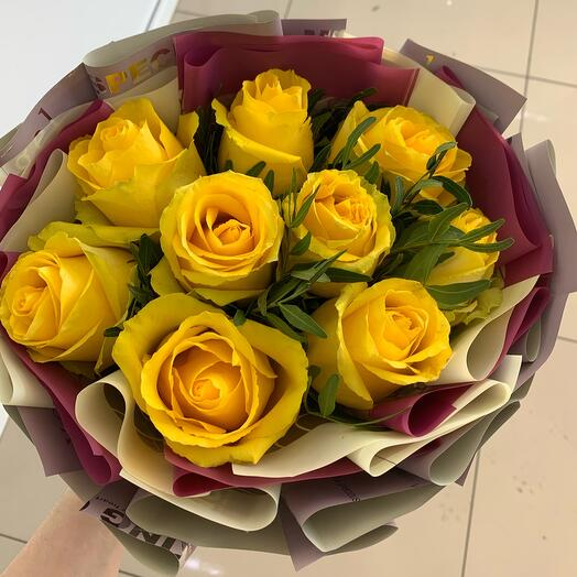 Монобукет из желтых роз