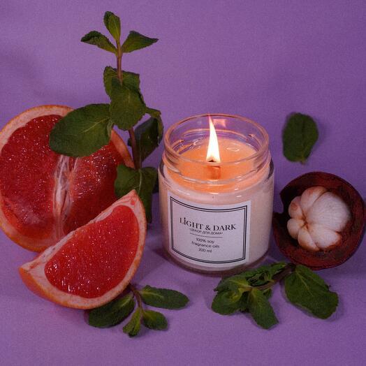 Ароматическая соевая свеча «Sunrise | грейпфрут, мята, мангостин» с хлопковым фитилем + длинные спички, 200мл
