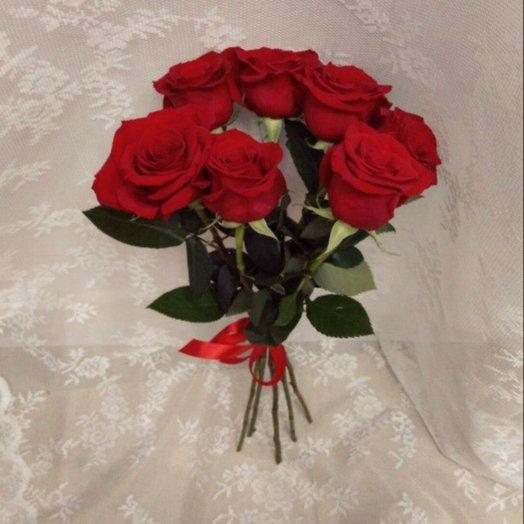 Букет из 7 бордовых роз: букеты цветов на заказ Flowwow