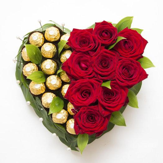 Сердце из роз и Ферреро Роше