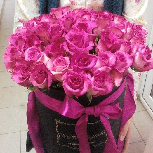 51 роза топаз шляпной коробке