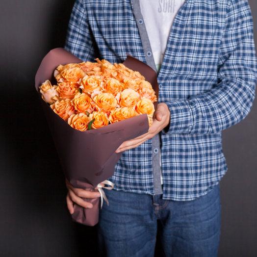 25 морковных роз 50 см., Россия: букеты цветов на заказ Flowwow