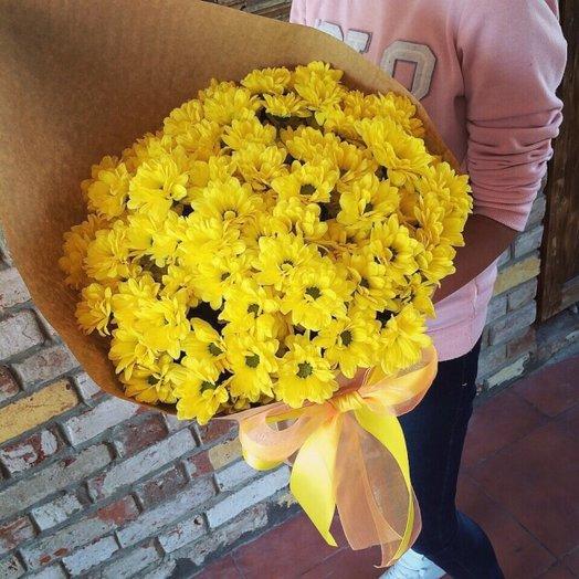 13 желтых хризантем в крафте: букеты цветов на заказ Flowwow