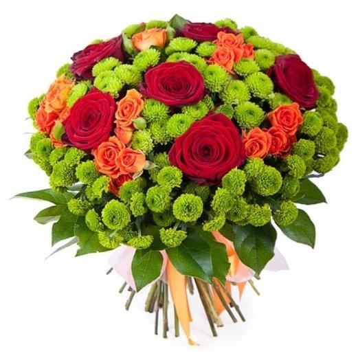 """Букет из роз и хризантем """"Мелодия любви"""": букеты цветов на заказ Flowwow"""