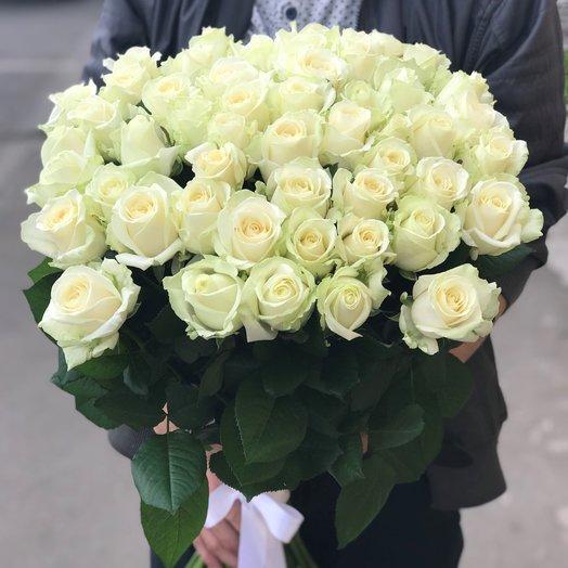 Букет роз 51  шт. Розы белые. N92: букеты цветов на заказ Flowwow