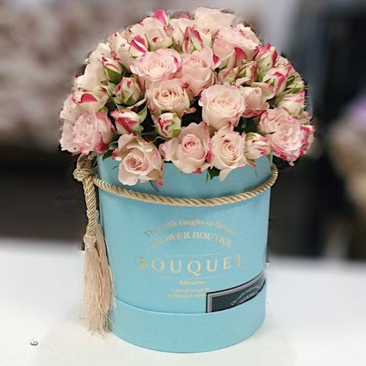 Розы рефлекс в голубой коробке : букеты цветов на заказ Flowwow