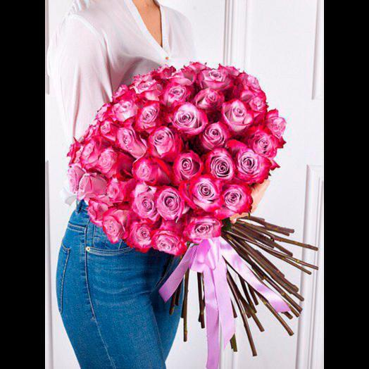 25 РОЗ 70 СМ ДИП ПЕРПЛ: букеты цветов на заказ Flowwow