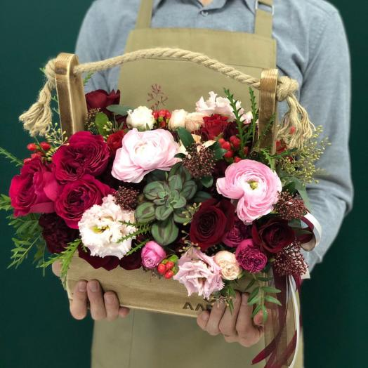 WoodBox 1684: букеты цветов на заказ Flowwow