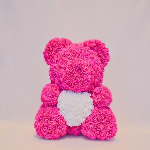 Мишка из роз с сердцем RozaRose Алый - 40 см: букеты цветов на заказ Flowwow