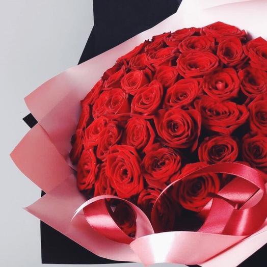 Моно букет из красной розы: букеты цветов на заказ Flowwow