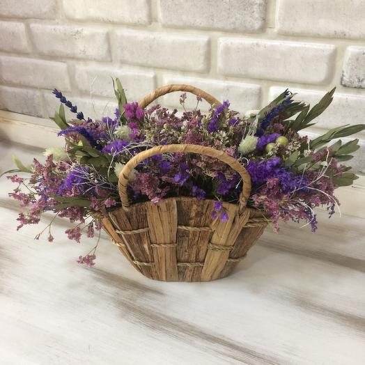 Корзинка с сухоцветами: букеты цветов на заказ Flowwow