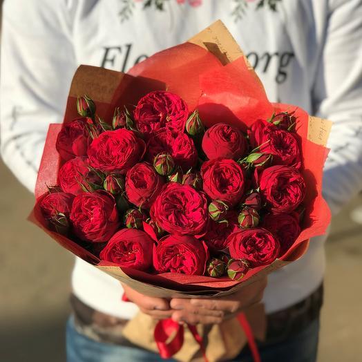Букет из красных пионовидных роз Ред Пиано (19 шт). N609