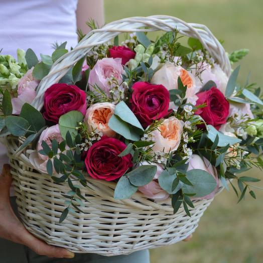 """Корзина из пионовидной розы """"Сан-Ремо"""": букеты цветов на заказ Flowwow"""