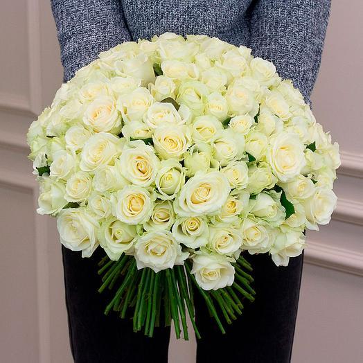 Букет из 101 белой розы Аваланж (50 см)