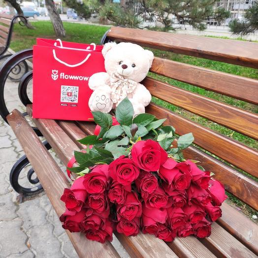 ✅ Букет красных роз  25 💐 (мишка в разделе игрушки)