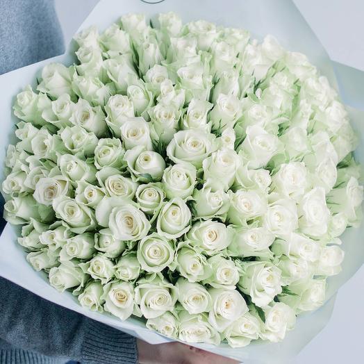 Букет из 101 белой розы (Кения) 40 см Standart