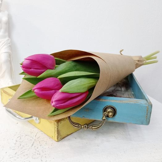 Три розовых тюльпана 50см