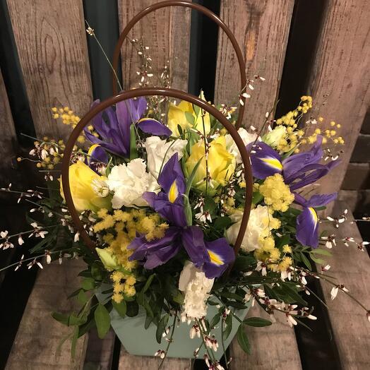 Ирисы,тюльпаны,мимоза в стильной сумке