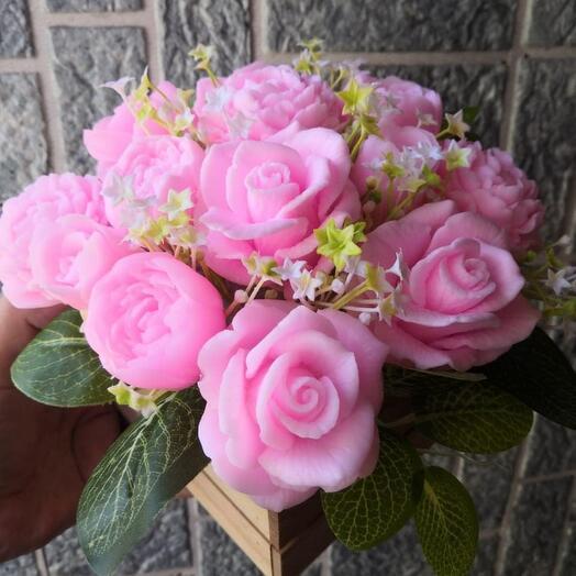 """""""Розы и пионы"""" букет из мыла ручной работы"""